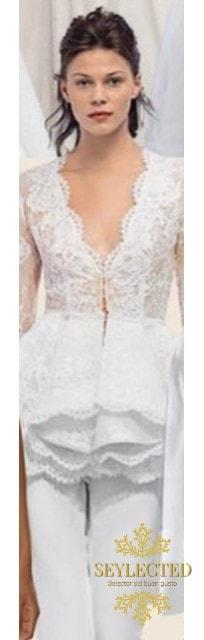 """El mayor problema de toda mujer a la hora de elegir el vestido de novia es que hoy en día hay TANTOS y TAN elegibles que tener que escoger """"El vestido"""", es un pequeño drama. Pero si optas por el pantalón, esta creo que es una opción perfecta."""
